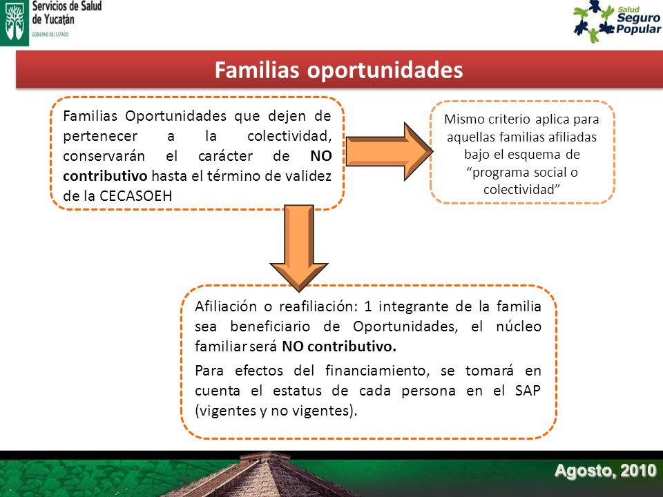 Familias Oportunidades que dejen de pertenecer a la colectividad, conservarán el carácter de NO contributivo hasta el término de validez de la CECASOE