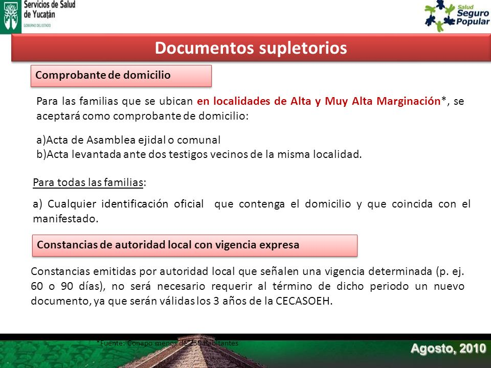 Para las familias que se ubican en localidades de Alta y Muy Alta Marginación*, se aceptará como comprobante de domicilio: a)Acta de Asamblea ejidal o