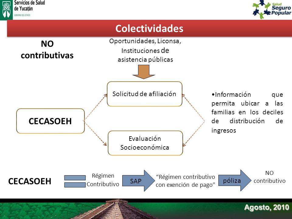 CECASOEH Solicitud de afiliación Evaluación Socioeconómica NO contributivas Oportunidades, Liconsa, Instituciones de asistencia públicas CECASOEH Régi