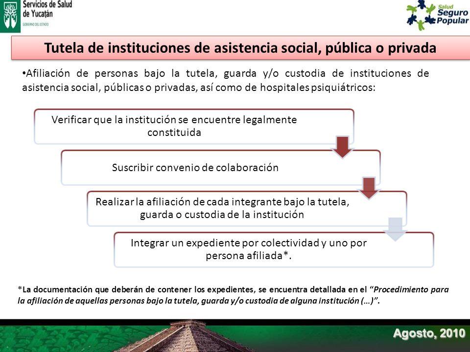 Afiliación de personas bajo la tutela, guarda y/o custodia de instituciones de asistencia social, públicas o privadas, así como de hospitales psiquiát