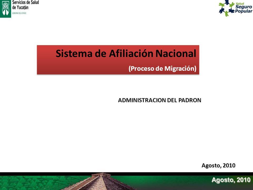 Sistema de Afiliación Nacional (Proceso de Migración) Sistema de Afiliación Nacional (Proceso de Migración) Agosto, 2010 ADMINISTRACION DEL PADRON