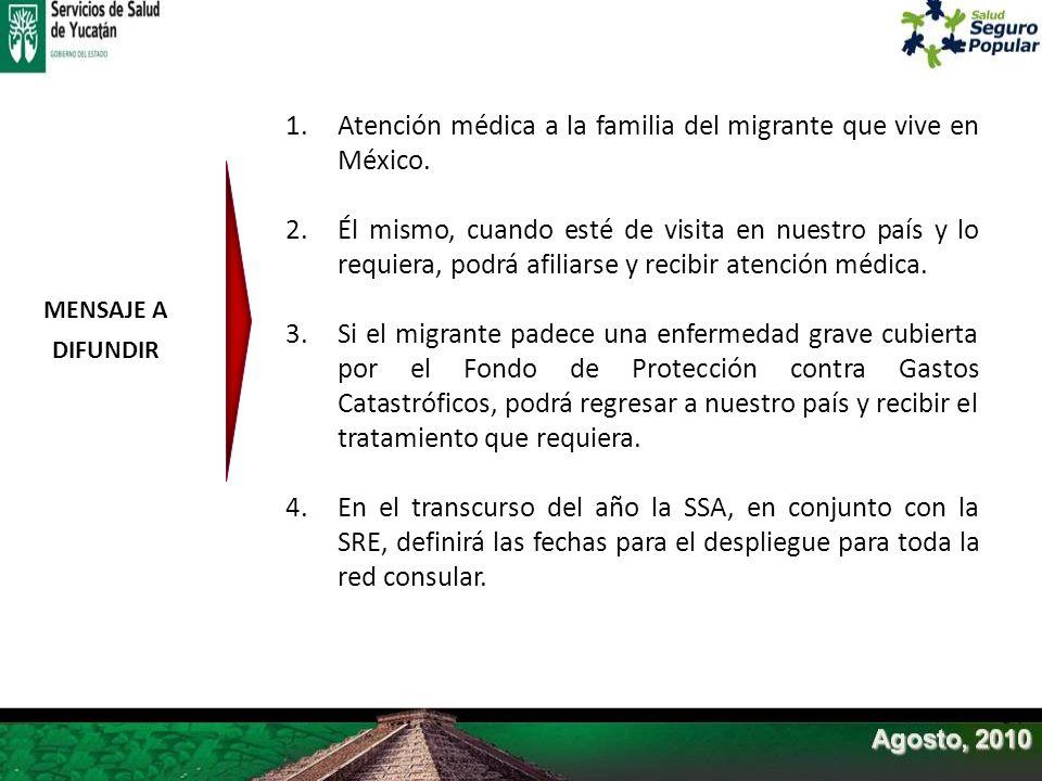 1.Atención médica a la familia del migrante que vive en México. 2.Él mismo, cuando esté de visita en nuestro país y lo requiera, podrá afiliarse y rec