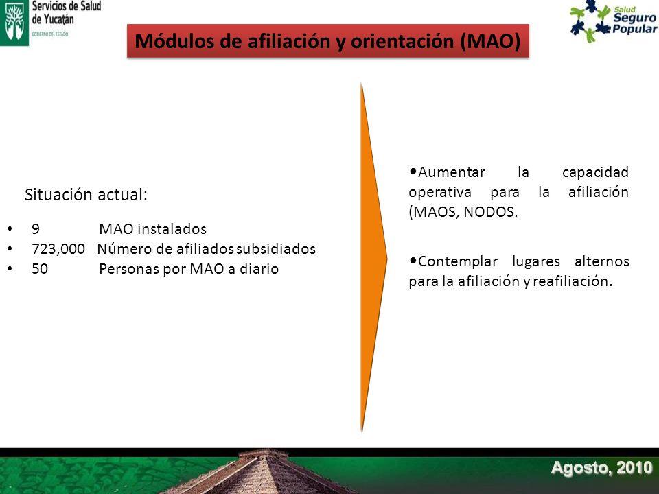 Módulos de afiliación y orientación (MAO) 9 MAO instalados 723,000 Número de afiliados subsidiados 50 Personas por MAO a diario Situación actual: Aume