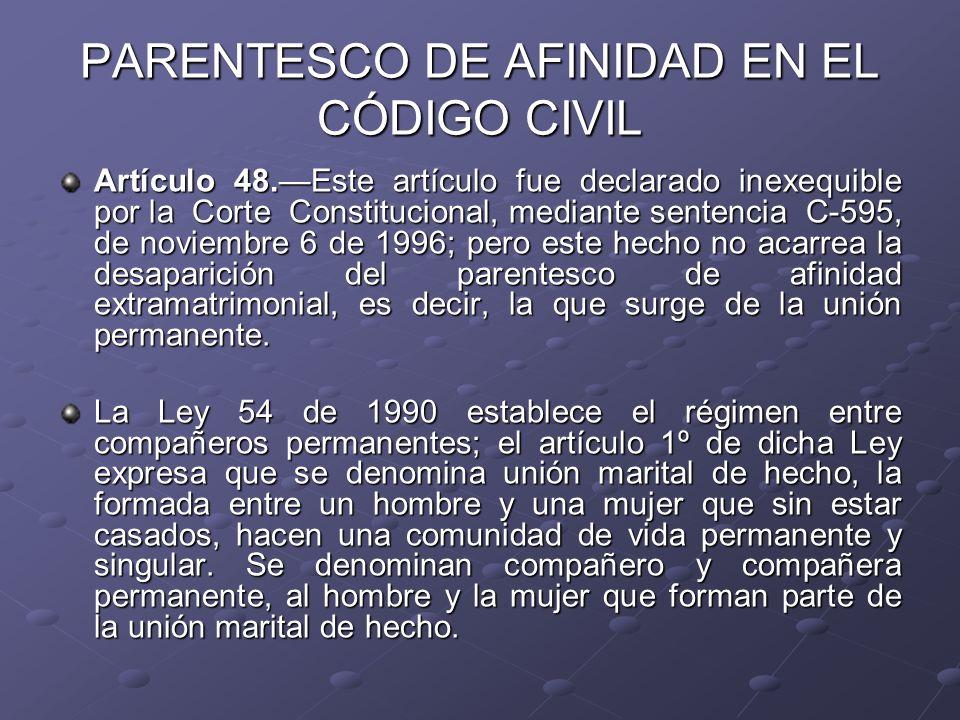 PARENTESCO DE AFINIDAD EN EL CÓDIGO CIVIL Artículo 48.Este artículo fue declarado inexequible por la Corte Constitucional, mediante sentencia C-595, d