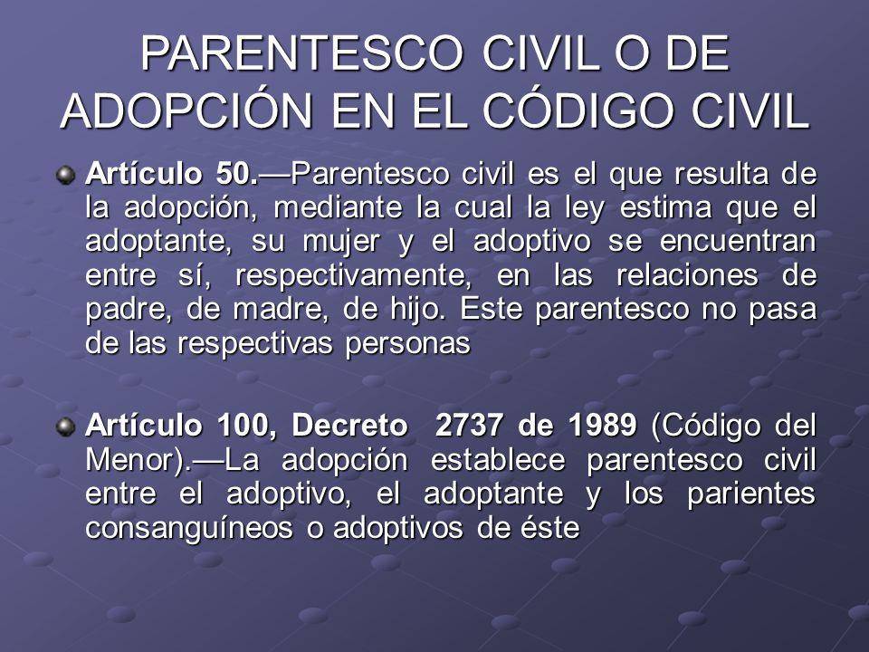 Artículo 50.Parentesco civil es el que resulta de la adopción, mediante la cual la ley estima que el adoptante, su mujer y el adoptivo se encuentran e