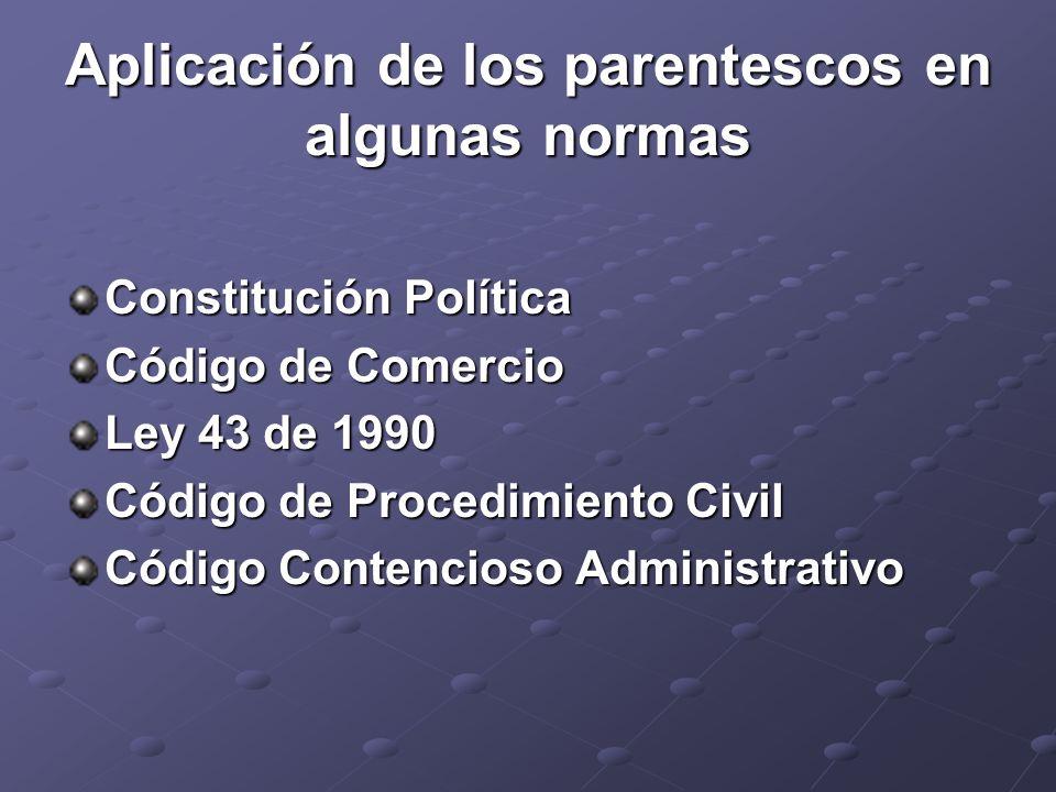 Aplicación de los parentescos en algunas normas Constitución Política Código de Comercio Ley 43 de 1990 Código de Procedimiento Civil Código Contencio