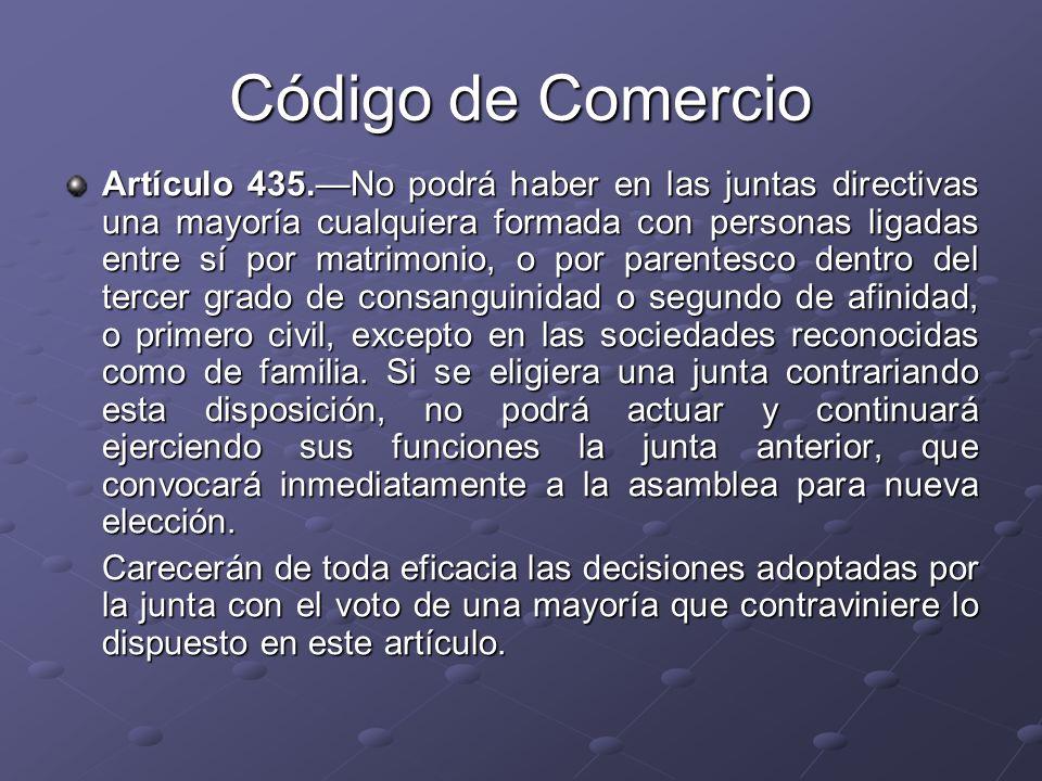 Código de Comercio Artículo 435.No podrá haber en las juntas directivas una mayoría cualquiera formada con personas ligadas entre sí por matrimonio, o