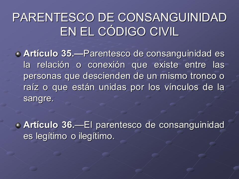 PARENTESCO DE CONSANGUINIDAD EN EL CÓDIGO CIVIL Artículo 35.Parentesco de consanguinidad es la relación o conexión que existe entre las personas que d