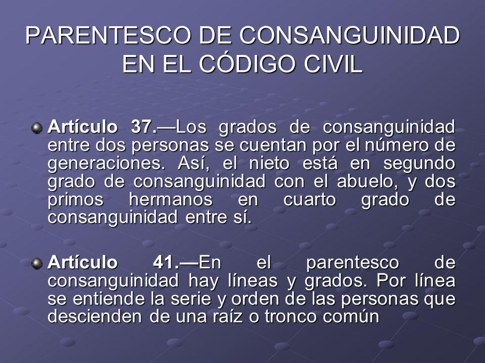 PARENTESCO DE CONSANGUINIDAD EN EL CÓDIGO CIVIL Artículo 37.Los grados de consanguinidad entre dos personas se cuentan por el número de generaciones.