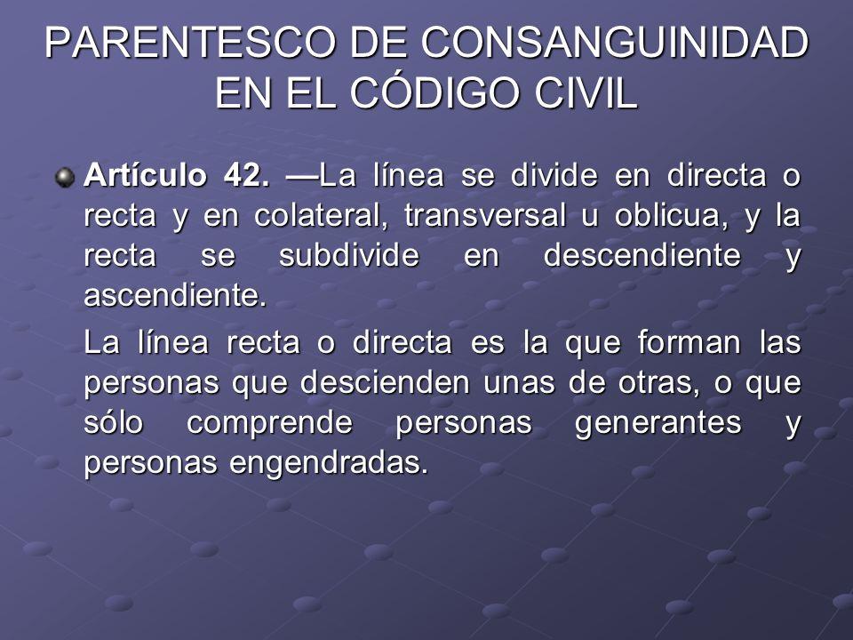 PARENTESCO DE CONSANGUINIDAD EN EL CÓDIGO CIVIL Artículo 42. La línea se divide en directa o recta y en colateral, transversal u oblicua, y la recta s