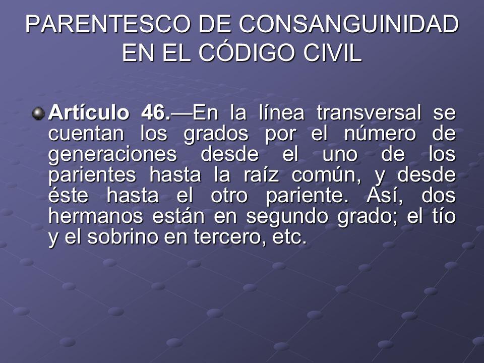 PARENTESCO DE CONSANGUINIDAD EN EL CÓDIGO CIVIL Artículo 46.En la línea transversal se cuentan los grados por el número de generaciones desde el uno d