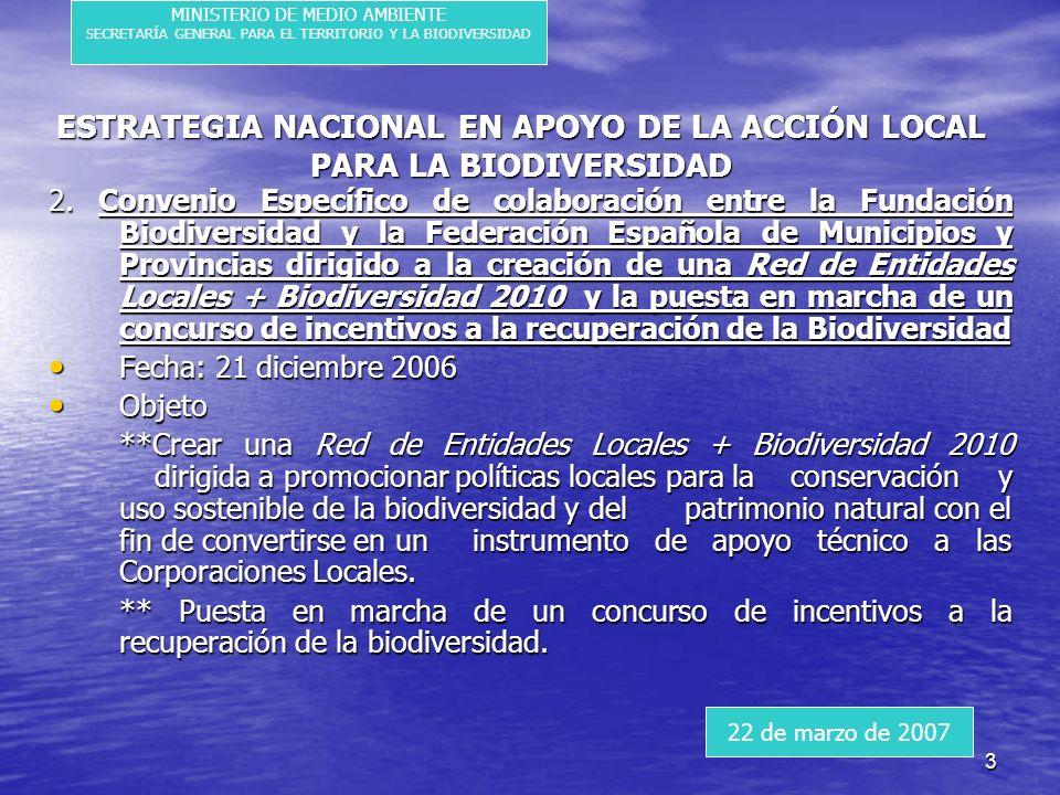 3 ESTRATEGIA NACIONAL EN APOYO DE LA ACCIÓN LOCAL PARA LA BIODIVERSIDAD 2.