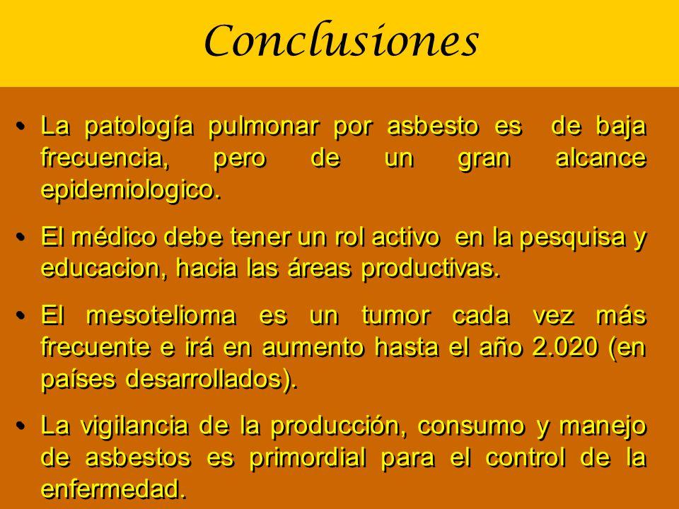 Conclusiones La patología pulmonar por asbesto es de baja frecuencia, pero de un gran alcance epidemiologico. El médico debe tener un rol activo en la