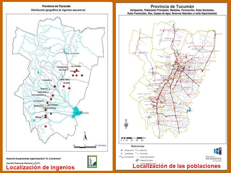 Localización de ingenios Localización de ingenios Localización de las poblaciones