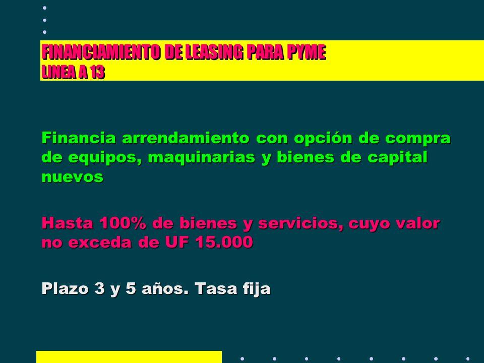 FINANCIAMIENTO DE LEASING PARA PYME LINEA A 13 Financia arrendamiento con opción de compra de equipos, maquinarias y bienes de capital nuevos Hasta 10