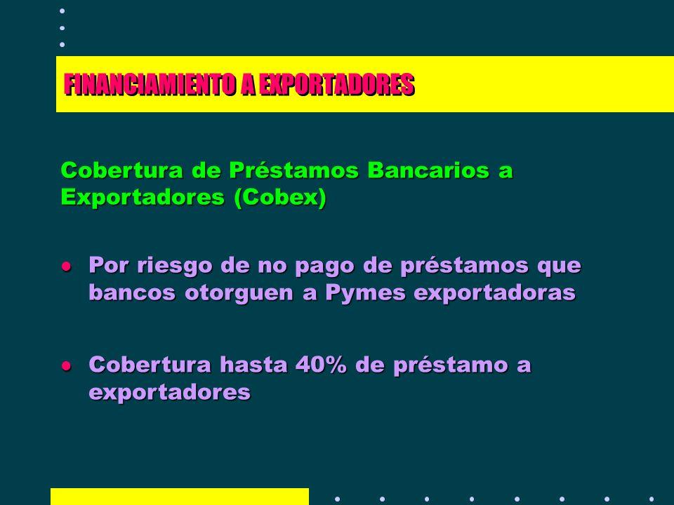 FINANCIAMIENTO A EXPORTADORES Cobertura de Préstamos Bancarios a Exportadores (Cobex) l Por riesgo de no pago de préstamos que bancos otorguen a Pymes