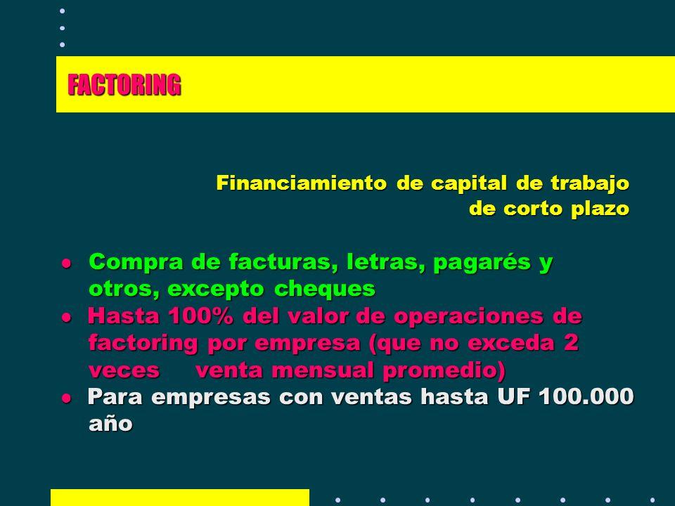 Financiamiento de capital de trabajo de corto plazo l Compra de facturas, letras, pagarés y otros, excepto cheques l Hasta 100% del valor de operacion