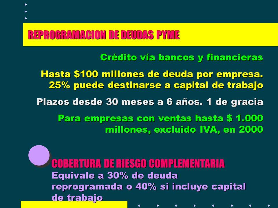 REPROGRAMACION DE DEUDAS PYME Crédito vía bancos y financieras Hasta $100 millones de deuda por empresa. 25% puede destinarse a capital de trabajo Pla