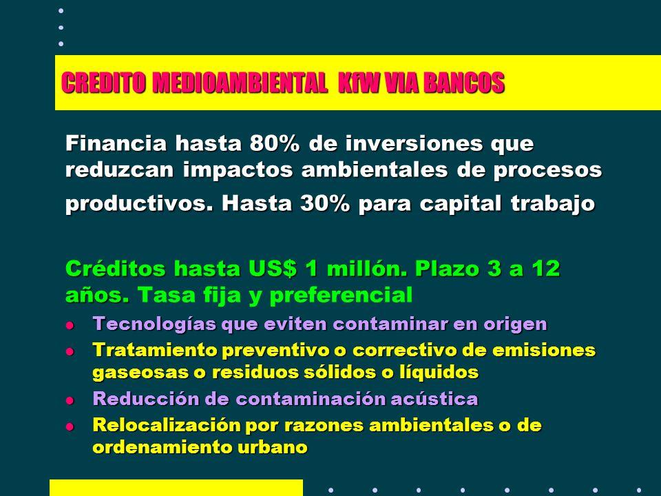 CREDITO MEDIOAMBIENTAL KfW VIA BANCOS Financia hasta 80% de inversiones que reduzcan impactos ambientales de procesos productivos. Hasta 30% para capi