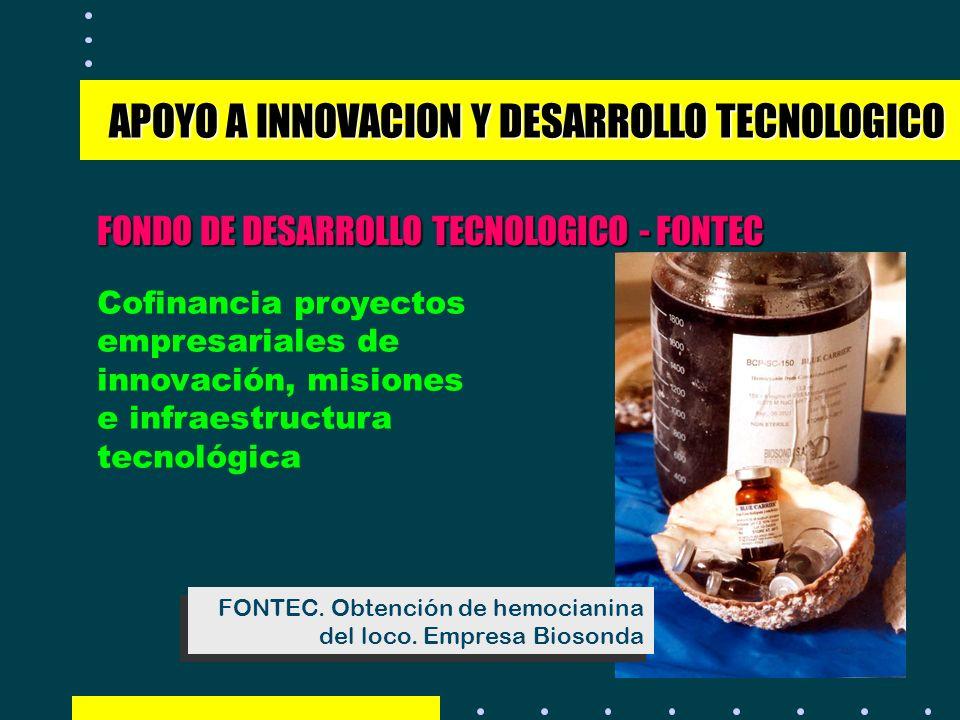 FONDO DE DESARROLLO TECNOLOGICO - FONTEC APOYO A INNOVACION Y DESARROLLO TECNOLOGICO Cofinancia proyectos empresariales de innovación, misiones e infr
