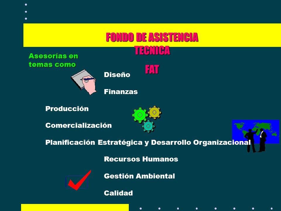 FONDO DE ASISTENCIA TECNICA FAT Asesorías en temas como Diseño Finanzas Producción Comercialización Planificación Estratégica y Desarrollo Organizacio