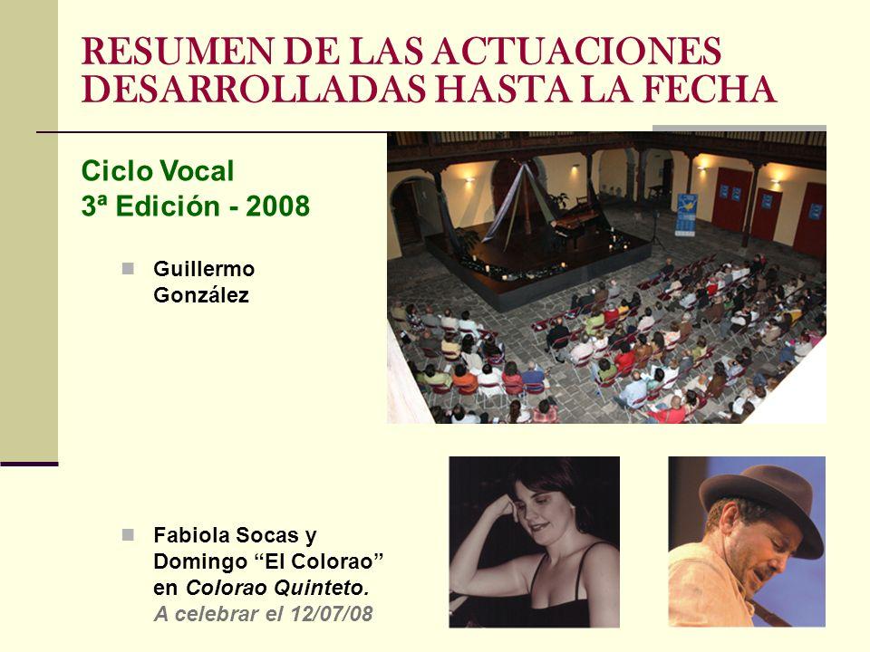 RESUMEN DE LAS ACTUACIONES DESARROLLADAS HASTA LA FECHA Guillermo González Fabiola Socas y Domingo El Colorao en Colorao Quinteto. A celebrar el 12/07