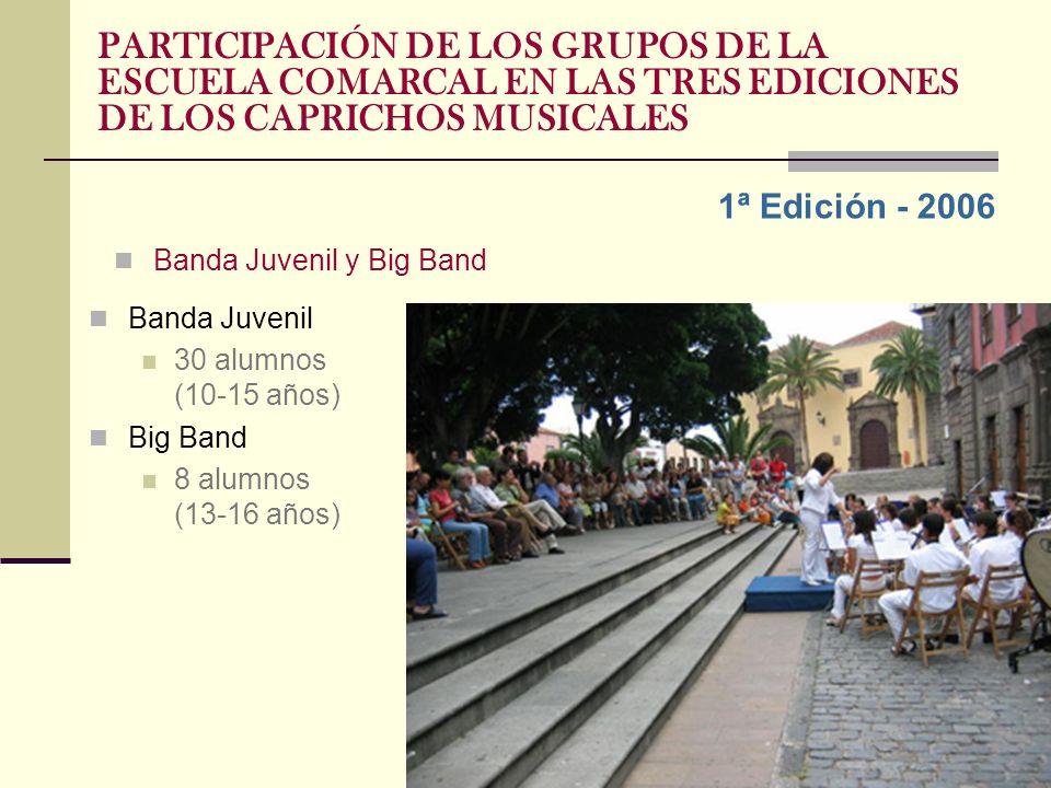 1ª Edición - 2006 Banda Juvenil y Big Band Banda Juvenil 30 alumnos (10-15 años) Big Band 8 alumnos (13-16 años)