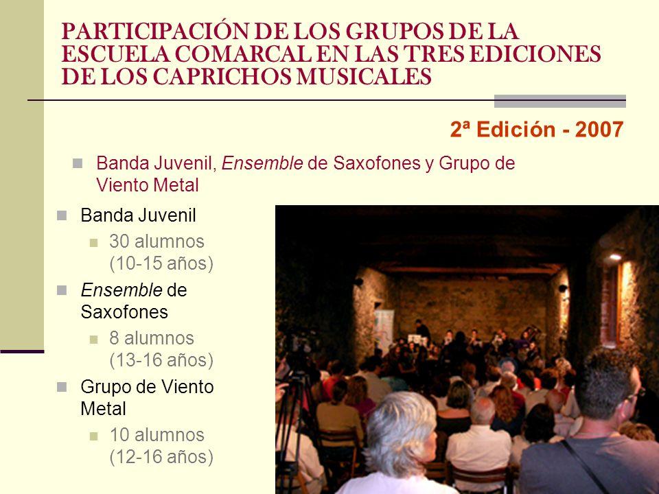 2ª Edición - 2007 PARTICIPACIÓN DE LOS GRUPOS DE LA ESCUELA COMARCAL EN LAS TRES EDICIONES DE LOS CAPRICHOS MUSICALES Banda Juvenil, Ensemble de Saxof