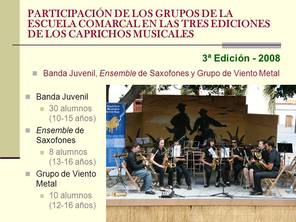 3ª Edición - 2008 Banda Juvenil, Ensemble de Saxofones y Grupo de Viento Metal PARTICIPACIÓN DE LOS GRUPOS DE LA ESCUELA COMARCAL EN LAS TRES EDICIONE