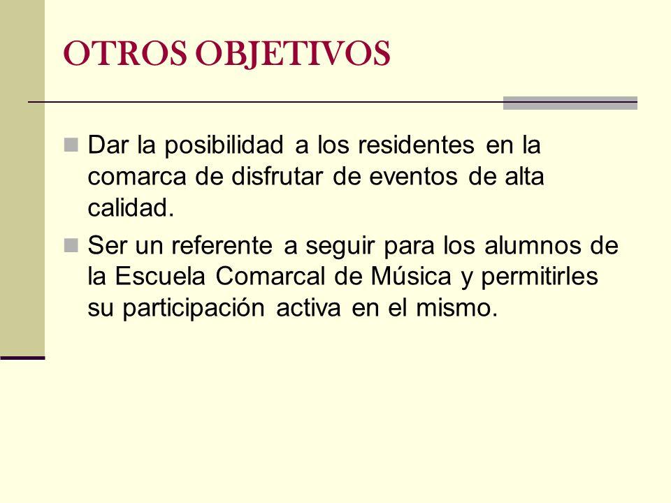 Dar la posibilidad a los residentes en la comarca de disfrutar de eventos de alta calidad. Ser un referente a seguir para los alumnos de la Escuela Co