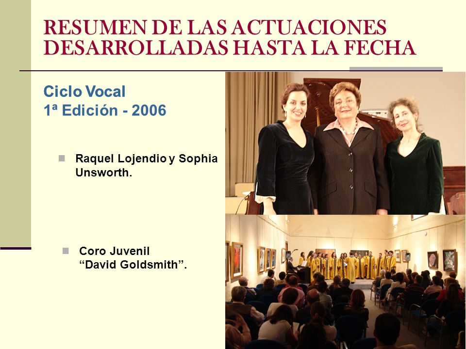 Raquel Lojendio y Sophia Unsworth. Ciclo Vocal Coro Juvenil David Goldsmith.