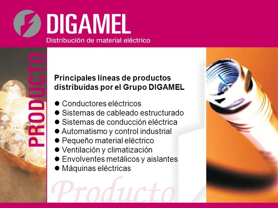 Principales líneas de productos distribuidas por el Grupo DIGAMEL Conductores eléctricos Sistemas de cableado estructurado Sistemas de conducción eléc
