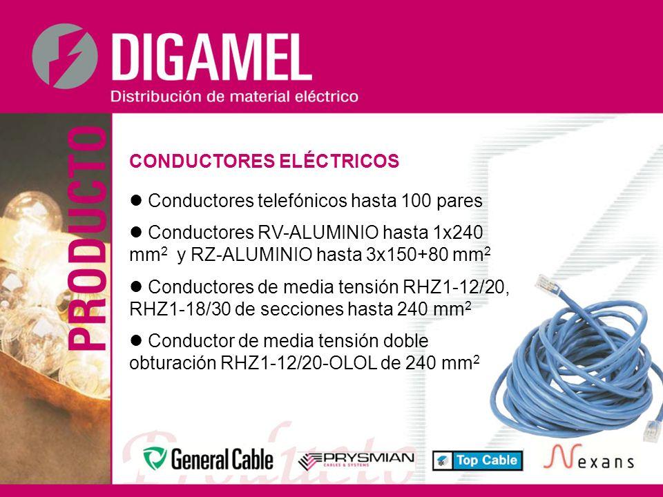 CONDUCTORES ELÉCTRICOS Conductores telefónicos hasta 100 pares Conductores RV-ALUMINIO hasta 1x240 mm 2 y RZ-ALUMINIO hasta 3x150+80 mm 2 Conductores