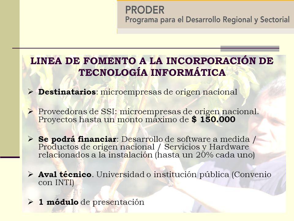 Destinatarios : microempresas de origen nacional Proveedoras de SSI: microempresas de origen nacional.