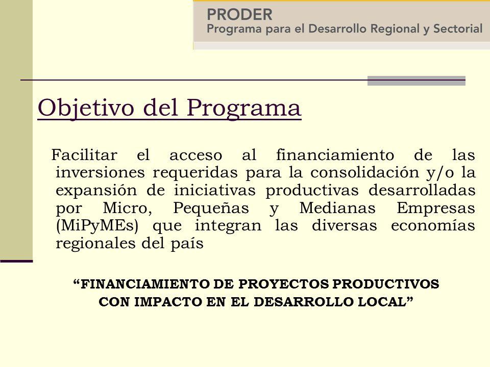Objetivo del Programa Facilitar el acceso al financiamiento de las inversiones requeridas para la consolidación y/o la expansión de iniciativas productivas desarrolladas por Micro, Pequeñas y Medianas Empresas (MiPyMEs) que integran las diversas economías regionales del país FINANCIAMIENTO DE PROYECTOS PRODUCTIVOS CON IMPACTO EN EL DESARROLLO LOCAL