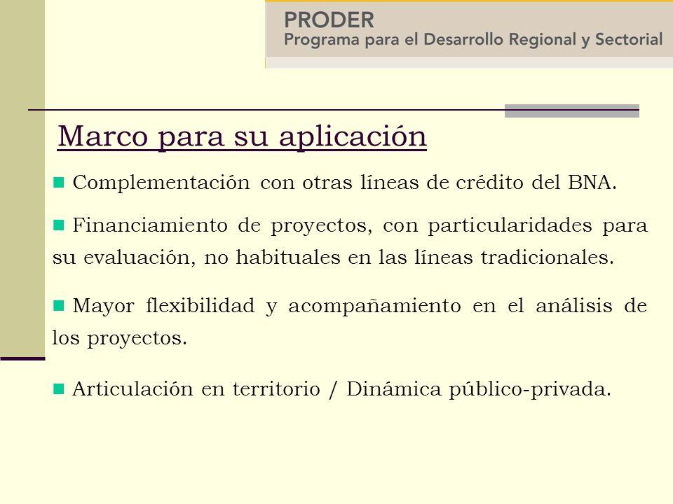 Marco para su aplicación Financiamiento de proyectos, con particularidades para su evaluación, no habituales en las líneas tradicionales.