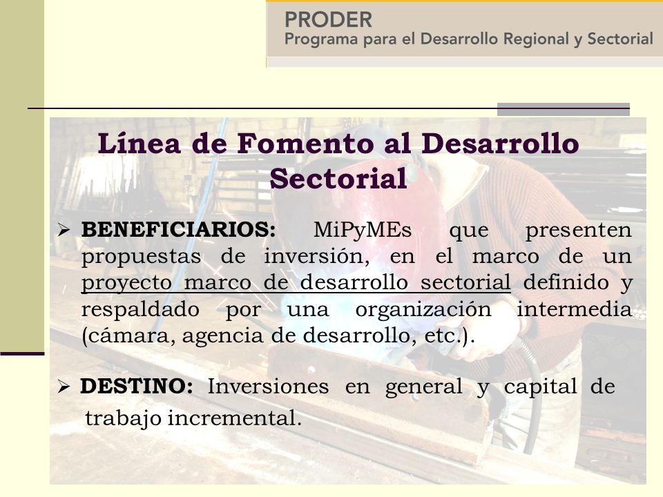 BENEFICIARIOS: MiPyMEs que presenten propuestas de inversión, en el marco de un proyecto marco de desarrollo sectorial definido y respaldado por una organización intermedia (cámara, agencia de desarrollo, etc.).