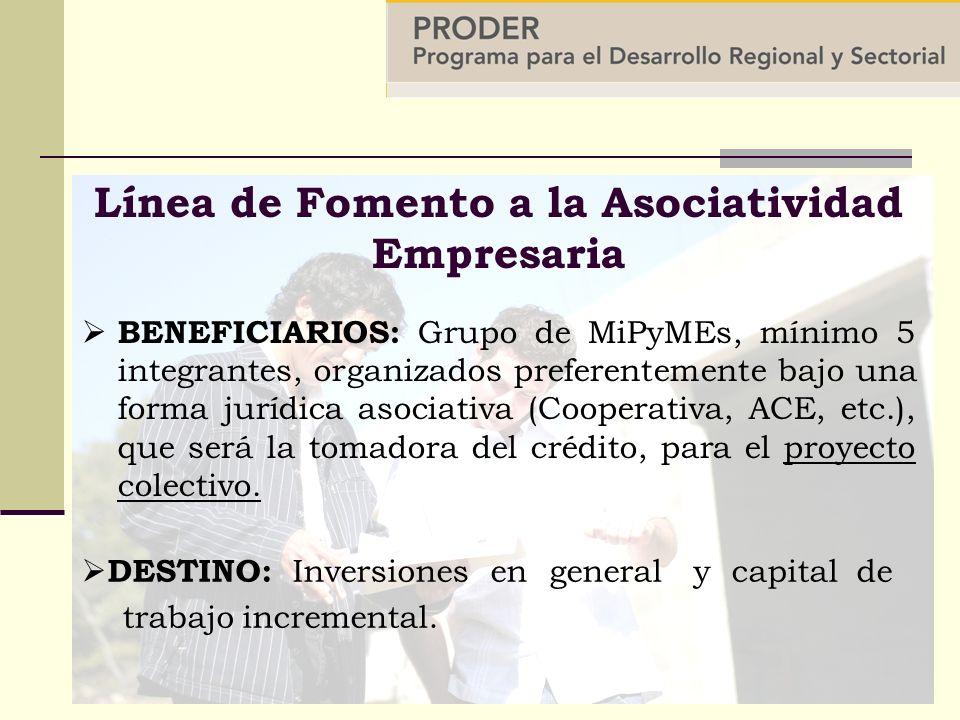 BENEFICIARIOS: Grupo de MiPyMEs, mínimo 5 integrantes, organizados preferentemente bajo una forma jurídica asociativa (Cooperativa, ACE, etc.), que será la tomadora del crédito, para el proyecto colectivo.