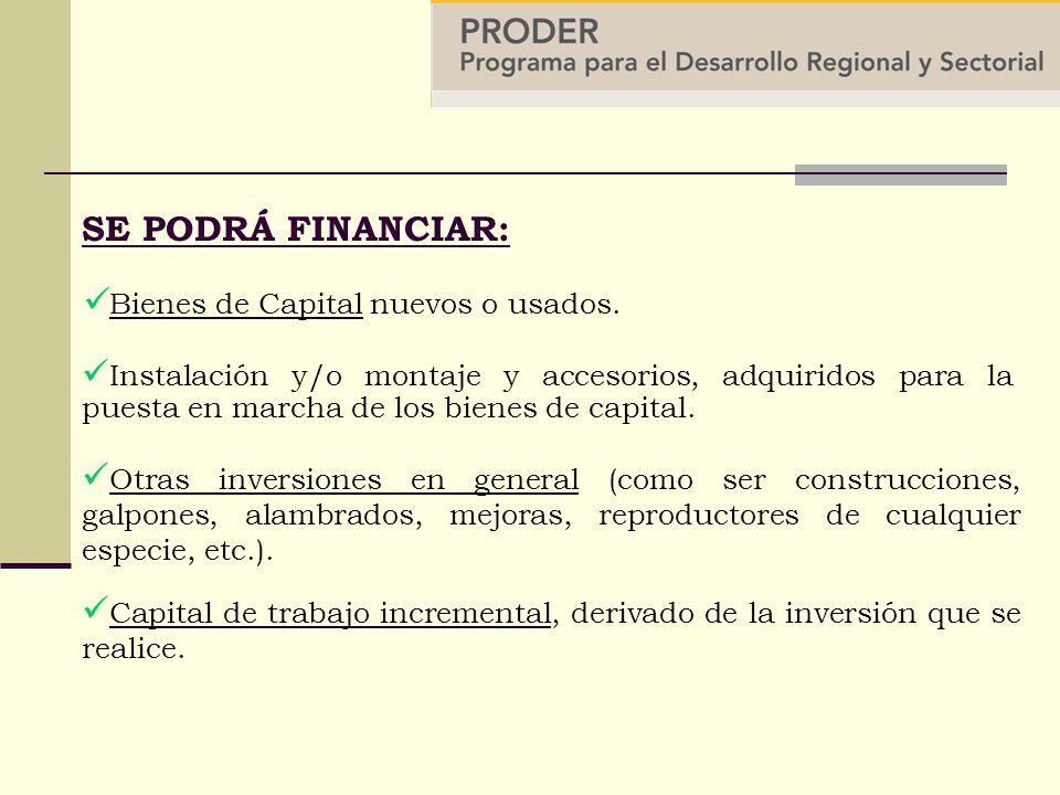 SE PODRÁ FINANCIAR: Instalación y/o montaje y accesorios, adquiridos para la puesta en marcha de los bienes de capital.
