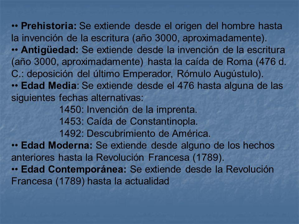 Prehistoria: Se extiende desde el origen del hombre hasta la invención de la escritura (año 3000, aproximadamente). Antigüedad: Se extiende desde la i