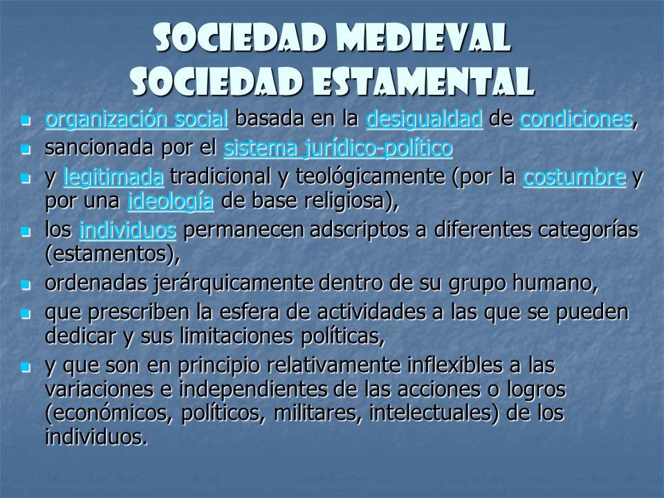 Sociedad Medieval Sociedad Estamental organización social basada en la desigualdad de condiciones, organización social basada en la desigualdad de con