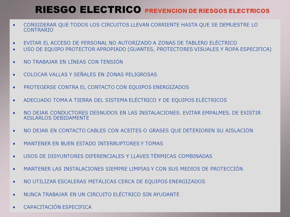 RIESGO ELECTRICO PREVENCION DE RIESGOS ELECTRICOS CONSIDERAR QUE TODOS LOS CIRCUITOS LLEVAN CORRIENTE HASTA QUE SE DEMUESTRE LO CONTRARIO EVITAR EL ACCESO DE PERSONAL NO AUTORIZADO A ZONAS DE TABLERO ELÉCTRICO USO DE EQUIPO PROTECTOR APROPIADO (GUANTES, PROTECTORES VISUALES Y ROPA ESPECIFICA) NO TRABAJAR EN LÍNEAS CON TENSIÓN COLOCAR VALLAS Y SEÑALES EN ZONAS PELIGROSAS PROTEGERSE CONTRA EL CONTACTO CON EQUIPOS ENERGIZADOS ADECUADO TOMA A TIERRA DEL SISTEMA ELÉCTRICO Y DE EQUIPOS ELÉCTRICOS NO DEJAR CONDUCTORES DESNUDOS EN LAS INSTALACIONES.
