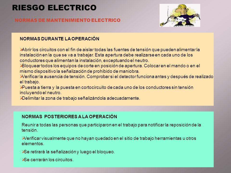 RIESGO ELECTRICO NORMAS DE MANTENIMIENTO ELECTRICO NORMAS DURANTE LA OPERACIÓN Abrir los circuitos con el fin de aislar todas las fuentes de tensión que pueden alimentar la instalación en la que se va a trabajar.