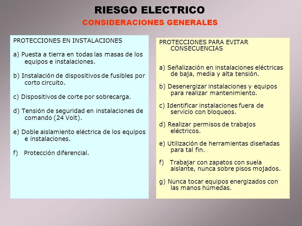 RIESGO ELECTRICO CONSIDERACIONES GENERALES PROTECCIONES EN INSTALACIONES a) Puesta a tierra en todas las masas de los equipos e instalaciones.