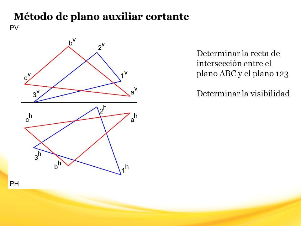 Método de plano auxiliar cortante Paso 11: Teniendo la visibilidad de una de las rectas, sólo queda alternar entre Visible y Oculto en el área común a los planos, la visibilidad cambia cada vez que nos topemos con un punto de intersección real o un punto de corte aparente