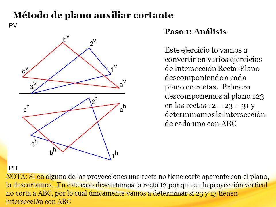 Método de plano auxiliar cortante Paso 12: Para determinar la visibilidad en la vista horizontal, seleccionamos un punto de corte aparente y trazamos una línea imaginaria hacia la vista vertical (línea verde).