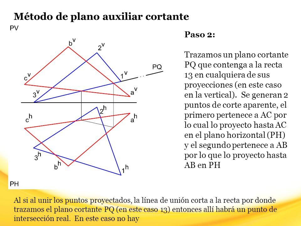 Método de plano auxiliar cortante Paso 13: Teniendo la visibilidad de una de las rectas, sólo queda alternar entre Visible y Oculto en el área común a los planos, la visibilidad cambia cada vez que nos topemos con un punto de intersección real o un punto de corte aparente