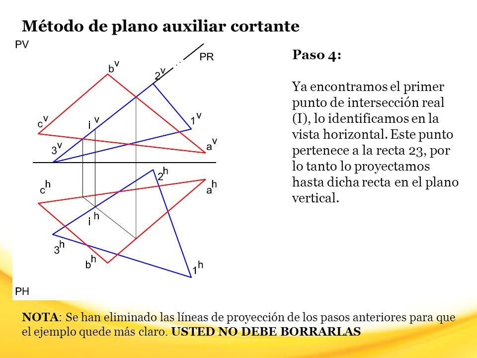 Método de plano auxiliar cortante Paso 5: Hasta aquí ya verificamos si las rectas que componen al plano 123 tienen intersección con el plano ABC, ahora vamos a hacer lo contrario.