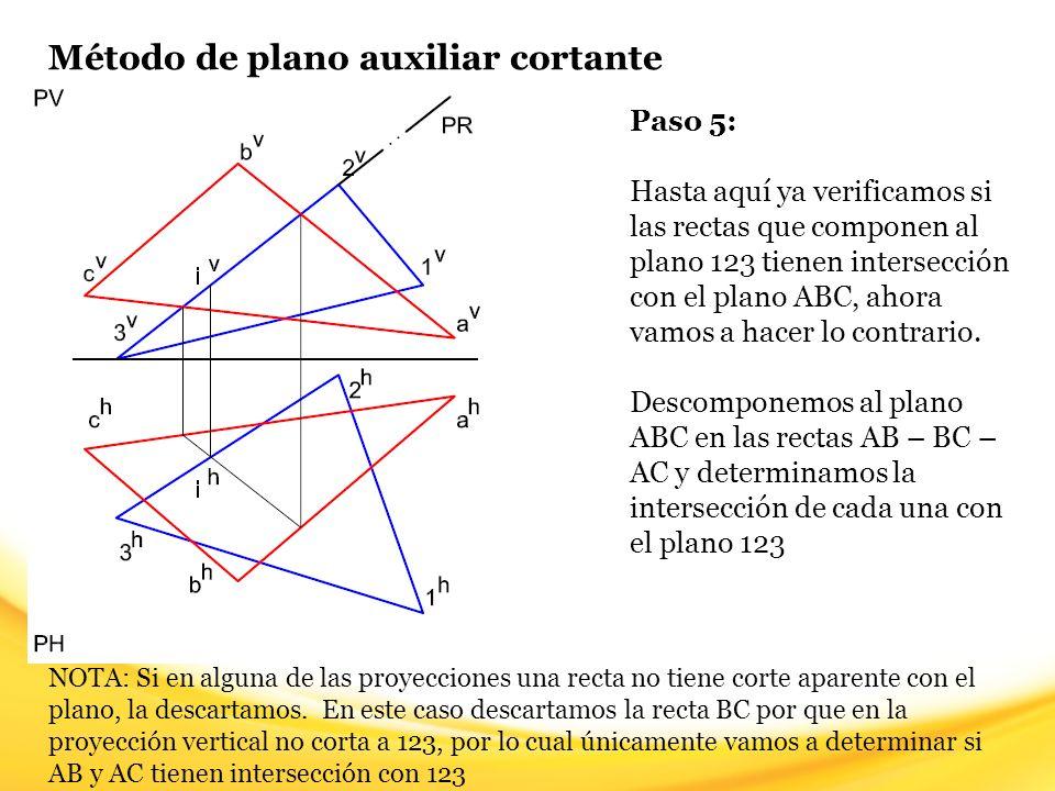 Método de plano auxiliar cortante Paso 6: Trazamos un plano cortante PS que contenga a la recta AC en cualquiera de sus proyecciones (en este caso en la vertical).