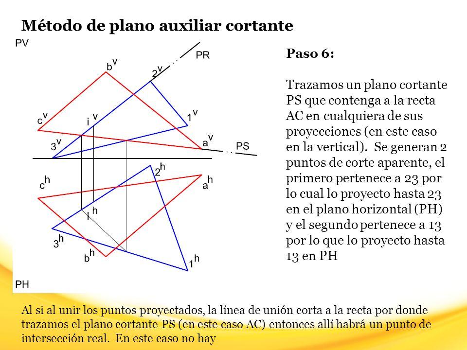 Método de plano auxiliar cortante Paso 7: Trazamos un plano cortante PT que contenga a la recta AB en cualquiera de sus proyecciones (en este caso en la vertical).